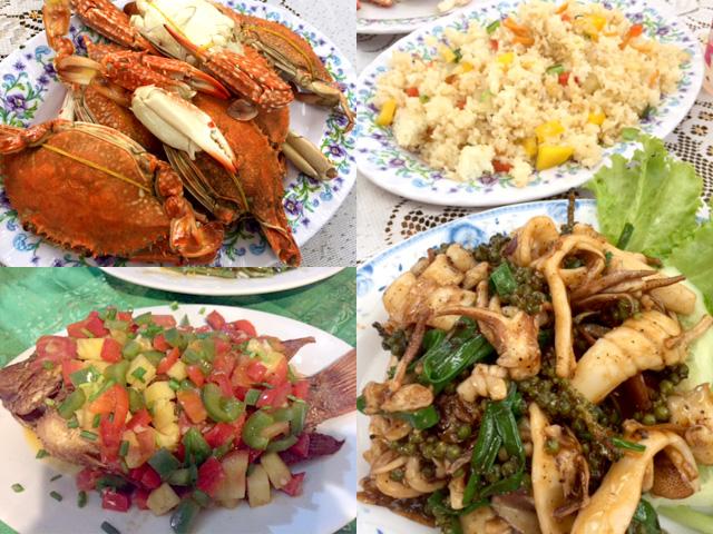 ゆでガニ、蟹の炒め物、焼きエビ、イカのグリーンペッパー炒め、揚げた魚の甘酢あんかけ
